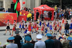 Wrestlers of the sports school on the Victory Day Parade. Pyatigorsk, Russia - May 9, 2017: Wrestlers of the sports school of the city of Pyatigorsk on the Royalty Free Stock Photography