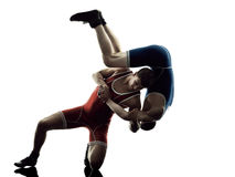 Wrestlers wrestling men isolated silhouette Stock Photo