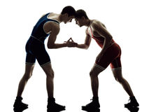 Wrestlers wrestling men isolated silhouette. Two caucasian wrestlers wrestling men on isolated silhouette white background Royalty Free Stock Image