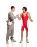 Wrestling. Male wrestlers. Studio shot over white Stock Photography