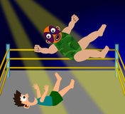 Wrestling. A humorous illustration of two cartoon wrestlers having a wrestling match Stock Photos