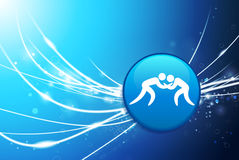 Wrestling Button on Blue Abstract Light Background Stock Image