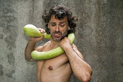 Wrestling courgette Stock Images