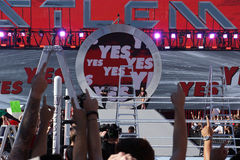 Wrestling Daniel Bryan enters arena as crowd yes chants Royalty Free Stock Images