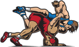 Wrestling. Illustration of two guys wrestling Stock Image
