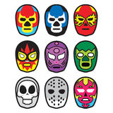 Wrestling masks. An illustrated set of colorful wrestling masks Royalty Free Stock Image