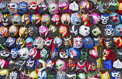 Wrestling Masks. Display of colorful free style-lucha libre, Mexican wrestling masks Stock Image