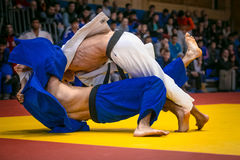 Wrestling match between young male judokas on tatami. in background fans Stock Images