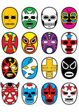 Wrestling Mexican Lucha Masks. 16 variations of Mexican/Japanese wrestler lucha masks. Available in vector EPS Stock Photos