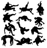 Wrestling Sport Activity Silhouettes Royalty Free Stock Image