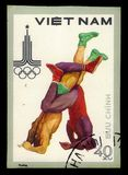 Wrestling, Summer Olympic Games 1980 - Moscow. VIETNAM - CIRCA 1980: A stamp printed in Vietnam shows wrestling, series Summer Olympic Games 1980 - Moscow, circa stock photos