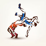 Wrestling symbol. Vector silhouette of two athletes Royalty Free Stock Photos