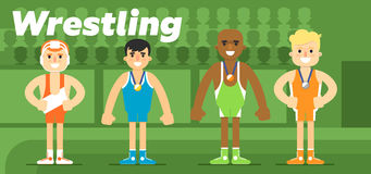 Wrestling team in the awarding Royalty Free Stock Photography