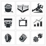 Wrestling Vector Icons Set Royalty Free Stock Photos