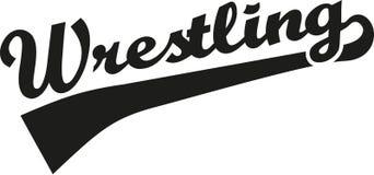 Wrestling word. Wrestler vector sports Stock Images