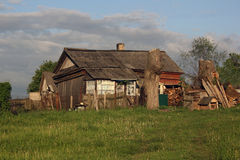 Wretched rickety hovel in the countryside Stock Photos