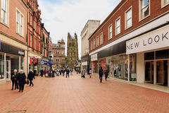 Wrexham Town Wales. The Welsh border market town of Wrexham one of the largest towns in North East Wales showing the central shopping district on Hope Street Royalty Free Stock Photos