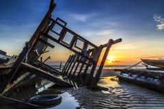Wrick alla spiaggia di aru di Tanjung, Labuan malaysia Fotografia Stock