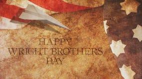 Wright Brothers Day feliz Los E.E.U.U. señalan por medio de una bandera y madera Imagen de archivo libre de regalías