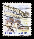 Wright Brothers, Flyer A and Shed, Wright Brothers Issue serie, circa 1978. MOSCOW, RUSSIA - FEBRUARY 10, 2019: A stamp printed in United States shows Wright royalty free stock images