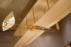 Wright Brothers 1902 Glider at the National Air and Space Museum. WASHINGTON D.C., USA - MAY 11, 2016: Wright Brothers 1902 Glider at the National Air and Space Royalty Free Stock Photography