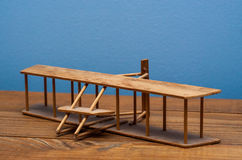 Wright Brothers Model. A wooden model of the Wright Brothers airplane Stock Images