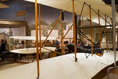 Wright Brothers 1903 powered Flyer at the National Air and Spac. WASHINGTON D.C., USA - MAY 11, 2016: Wright Brothers 1903 powered Flyer at National Air and Stock Image