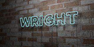 WRIGHT - Glowing Neon Sign on stonework wall - 3D rendered royalty free stock illustration Stock Image