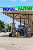 Royal Farms Convenience Store Fuel Pumps. Wrightsville, PA, USA - June 7, 2018: Royal Farms is an American convenience store chain with over 180 locations in the Royalty Free Stock Photography