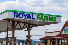 Royal Farms Convenience Store Logo. Wrightsville, PA, USA - June 7, 2018: Royal Farms is an American convenience store chain with over 180 locations in the mid Royalty Free Stock Photos