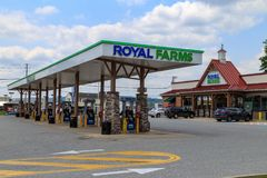 Royal Farms Store Fuel Pumps. Wrightsville, PA, USA - June 7, 2018: Royal Farms is an American convenience store chain with over 180 locations in the mid Royalty Free Stock Images