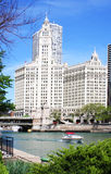 Wrigley Building. With Chicago river and Michigan bridge in foreground Stock Image
