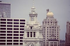 -Wrigley Building Chicago Architecture Skyline Royalty Free Stock Images