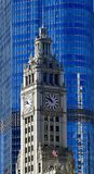 Wrigley Building Clock Tower. This is a Winter picture of the iconic Wrigley Building Clock Tower located on Michigan Avenue in Chicago, Illinois in Cook County Royalty Free Stock Photo