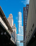 Wrigley building and Trump Tower view from the street in Chicago Royalty Free Stock Photos