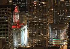 Wrigley Building washed in red lights at night Royalty Free Stock Photo