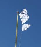 Wrigley coloca las banderas que muestran números jubilados Cubs del jugador Foto de archivo