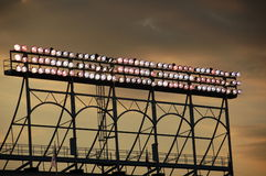 Wrigley Field lights. At dusk, Chicago, Illinois Royalty Free Stock Photography