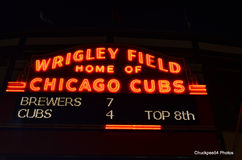 Wrigley Field Neon Sign. Wrigley field sign all lite up for a night game on June 15th 2011, this sign is located on the north side of the field, and home to the Stock Images