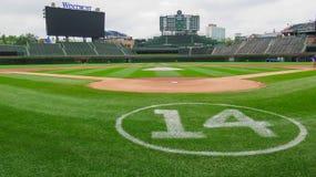 Wrigley interior coloca Chicago Cubs foto de archivo