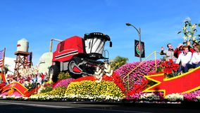 Wrigley Legacy Award float in the famous Rose Parade. Pasadena, JAN 1: Wrigley Legacy Award float in the famous Rose Parade - America`s New Year Celebration on stock video footage