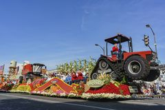 Wrigley Legacy Award float in the famous Rose Parade. Pasadena,  JAN 1: Wrigley Legacy Award float in the famous Rose Parade - America's New Year Celebration on Royalty Free Stock Photography