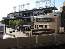 Wrigley mettent en place la gare de CTA, Chicago Cubs Photographie stock