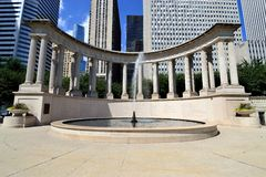 Wrigley Square and Fountain. May be used for an ad for Chicago's Wrigley Square or Millennium Park royalty free stock image