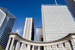 Wrigley Square and Millennium Monument. Located on the corner of Michigan Avenue and Randolph Street in downtown Chicago Illinois, the tree-lined area of Wrigley Stock Photo
