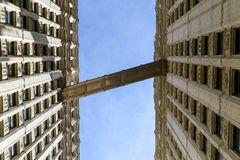 Wrigley Walkway. Chicago, USA - May 24, 2014: Walkway connecting the Wrigley Building towers in Downtown seen from below Royalty Free Stock Photos