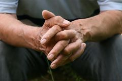 Wrincled hands royalty free stock photography
