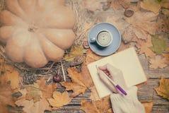 Wrinig femelle de main quelque chose dans le carnet sur le fond d'automne Photographie stock libre de droits