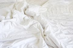 Wrinkle messy blanket in bedroom after waking up in the morning,. From sleeping in a long night Stock Images
