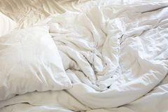 Wrinkle messy blanket in bedroom after waking up in the morning. From sleeping in a long night Stock Images